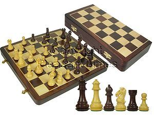 """Premier Chess Set Royal Knight Staunton 3-1/2"""" & Wooden Folding Chess Board 16"""" Rosewood/Maple"""