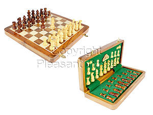 "12"" Wooden Chess Set Travel Magnetic Folding Board Golden Rosewood + 2 Extra Queens"