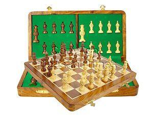 "Globe Design Artistic Chess Set 3"" & 14"" Folding Chess Board Golden Rosewood/Maple"