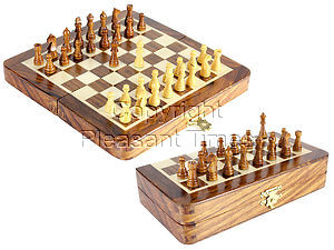 """6.25"""" Wooden Chess Set Travel Magnetic Folding Board Golden Rosewood + 2 Extra Queens"""