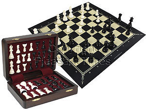 """Emperor Staunton Camel Bone 3"""" Chess Pieces & 18"""" Fabric Chess Board with Wenge Colored Presentation Chess Box"""
