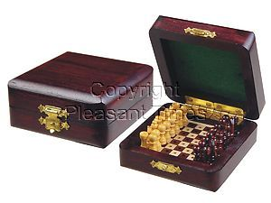 """Miniature Chess Set Wooden Pegged Board Inside Rosewood/Maple 3""""x3"""""""