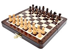 "7.5"" Wooden Chess Set Travel Magnetic Folding Board Ringy Rosewood + 2 Extra Queens + Algebraic Notations"