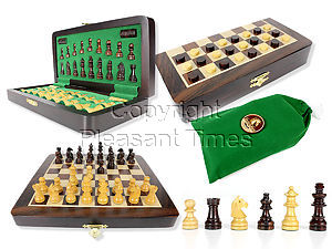 """Travel Magnetic Chess Set Folding 9"""" with 2 Extra Queens, Pawns & Checkers Rosewood/Maple"""