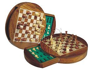 """Travel Magnetic Chess Set 9"""" Round Shape with Drawer Golden Rosewood/Maple"""