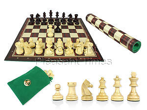 """Louis Staunton Chess Set Pieces 2-1/2"""" Rosewood Colored with Wood Tex Roll up 13"""" Chess Board and Velvet Pouch with Logo"""