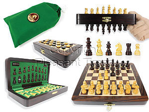 """Travel Magnetic Chess Set Folding 9"""" with 2 Extra Queens, Pawns & Checkers Rosewood/Maple + Algebraic Notations"""