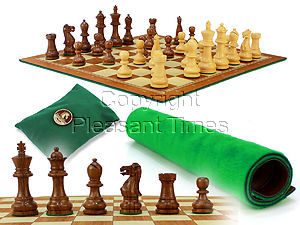 """Monarch Staunton Chess Pieces 2-3/4"""" with Wood Tex Roll up 13"""" Chess Board and Velvet Pouch with Logo"""