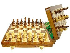 """Magnetic Chess Set Globe Design Artistic Pieces 3"""" & Folding Chess Board 14"""" Golden Rosewood/Maple"""