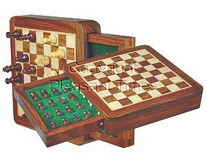 """Wood Magnetic Chess Set 6-1/4"""" with Push Drawer Golden Rosewood/Maple"""