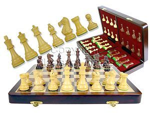 """Wooden Chess Set Board & Pieces Popular Staunton 3"""" + 16"""" Folding Chess Board/Box in Rosewood/Maple"""