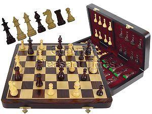 "Wood Chess Set Victorian Staunton 3-1/2"" & 16"" Folding Chess Board/Box Rosewood/Maple"