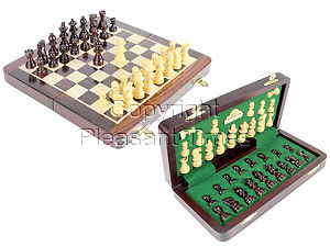 "10"" Wooden Chess Set Travel Magnetic Folding Board Rosewood + 2 Extra Queens"