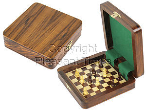 """Square Board Inside Magnetic Chess Set 5""""x5"""" and Pieces Golden Rosewood/Maple"""