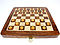 Flat layout of chess board with wooden checkers on top