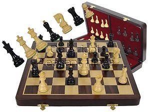 """Premier Chess Set Yugo Staunton 3-3/4"""" Ebony Wood & 18"""" Folding Chess Board and Box Rosewood/Maple"""