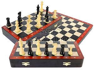 "Ebony Wood Folding 16"" Chess Board with inlaid Blood Wood border & Algebraic Notations + 3-3/4"" Laughing Knight Staunton Pieces"