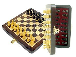"Pocket Magnetic Chess Set Folding 6-1/4"" with 2 Extra Queens, Pawns & 4 Extra Knights Rosewood/Maple"