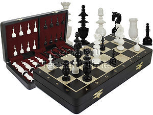 "French Regence Camel Bone 4"" Chess Pieces & 16"" Folding Wenge Wood Board with Inlaid Maple Algebraic Notations"