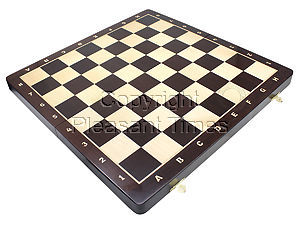 "21"" Folding Chess Board in Wenge Wood with Inlaid Algebraic Notations - Square Size 2.25 inch"