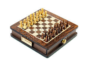 """Pocket Magnetic Chess Set 5"""" with Pull Drawer in Golden Rosewood / Maple"""