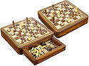 """Magnetic Chess Set and Inlaid White Maple Floor Backgammon Combo with Push Drawer 7-1/2"""" Golden Rosewood/Maple"""