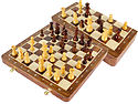 """Travel Chess Set Magnetic Folding 12"""" with 2 Extra Queens, Pawns & 4 Extra Knights Golden Rosewood/Maple and Inlaid Algebraic Notations"""
