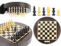 "Magnetic Round Drawer Rosewood Chess Board and Box Dia 9"" with Globe Chess pieces in Ebony Wood"
