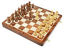 "Victorian Staunton Golden Acacia Wood 3"" Chess Set - 14"" Folding Chess Board with Algebraic Engraved Notation - 2 Extra Queens"