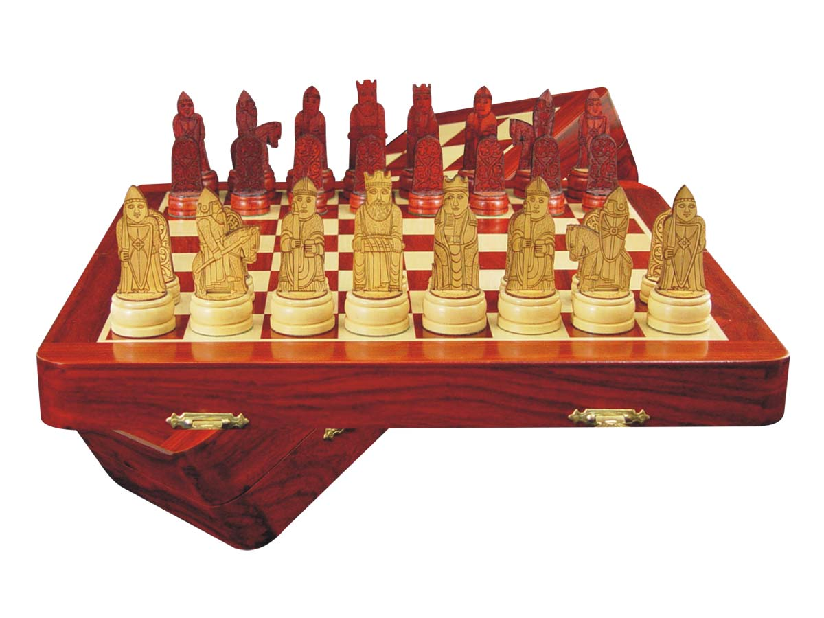 "Isle of Lewis Theme Magnetic Chess Set Folding 12"" Blood Wood/Maple"