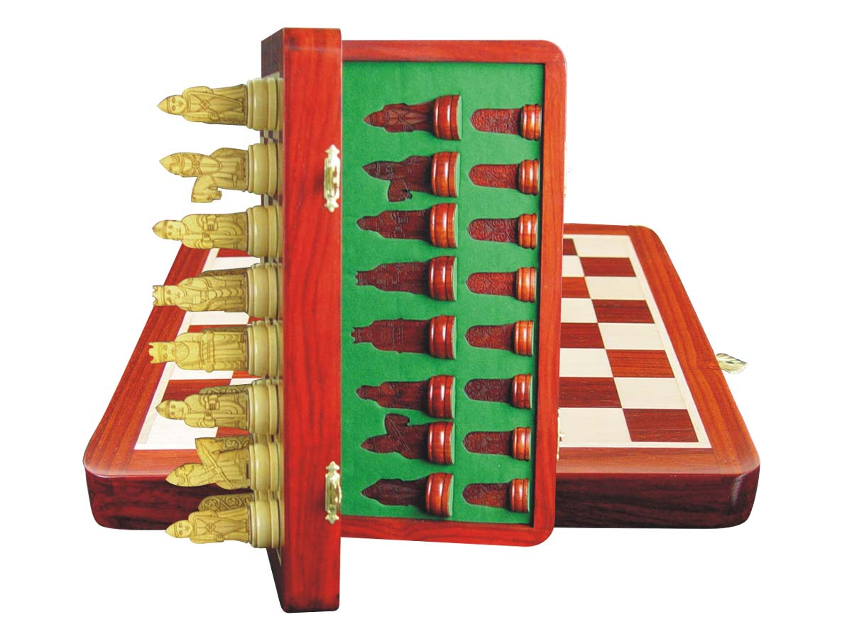 "Isle of Lewis Theme Magnetic Chess Set Folding 10"" Blood Wood/Maple"