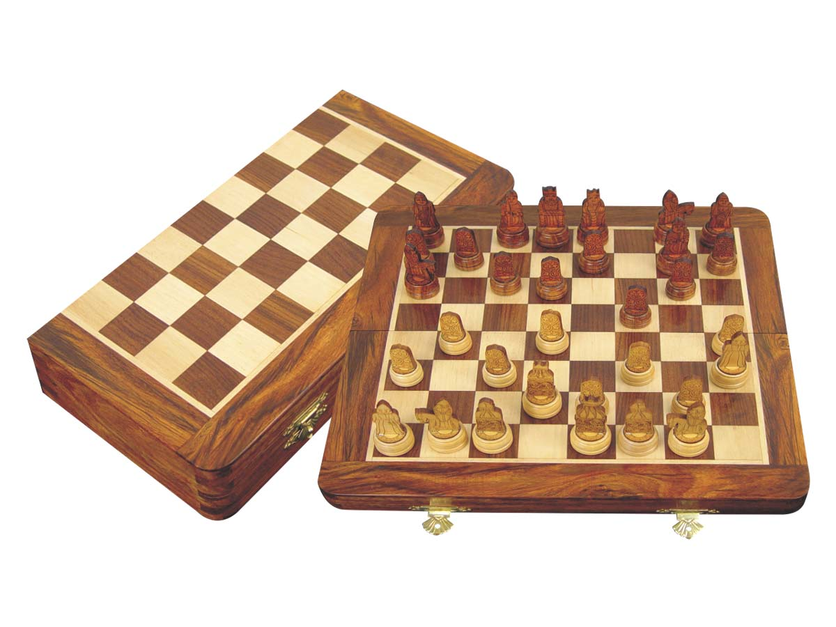 "Isle of Lewis Theme Magnetic Chess Set Folding 12"" Golden Rosewood/Maple"