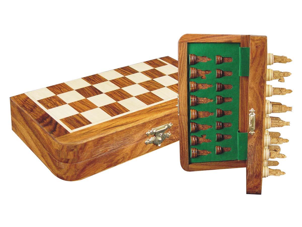 "Isle of Lewis Theme Magnetic Chess Set Folding 8"" Golden Rosewood/Maple"
