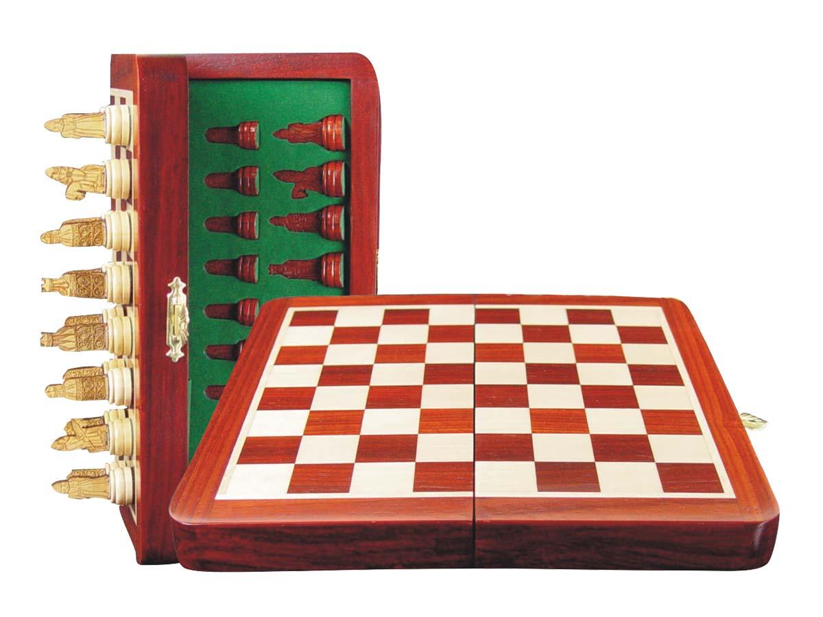 """Isle of Lewis Theme Magnetic Chess Set Folding 8"""" Blood Wood/Maple"""