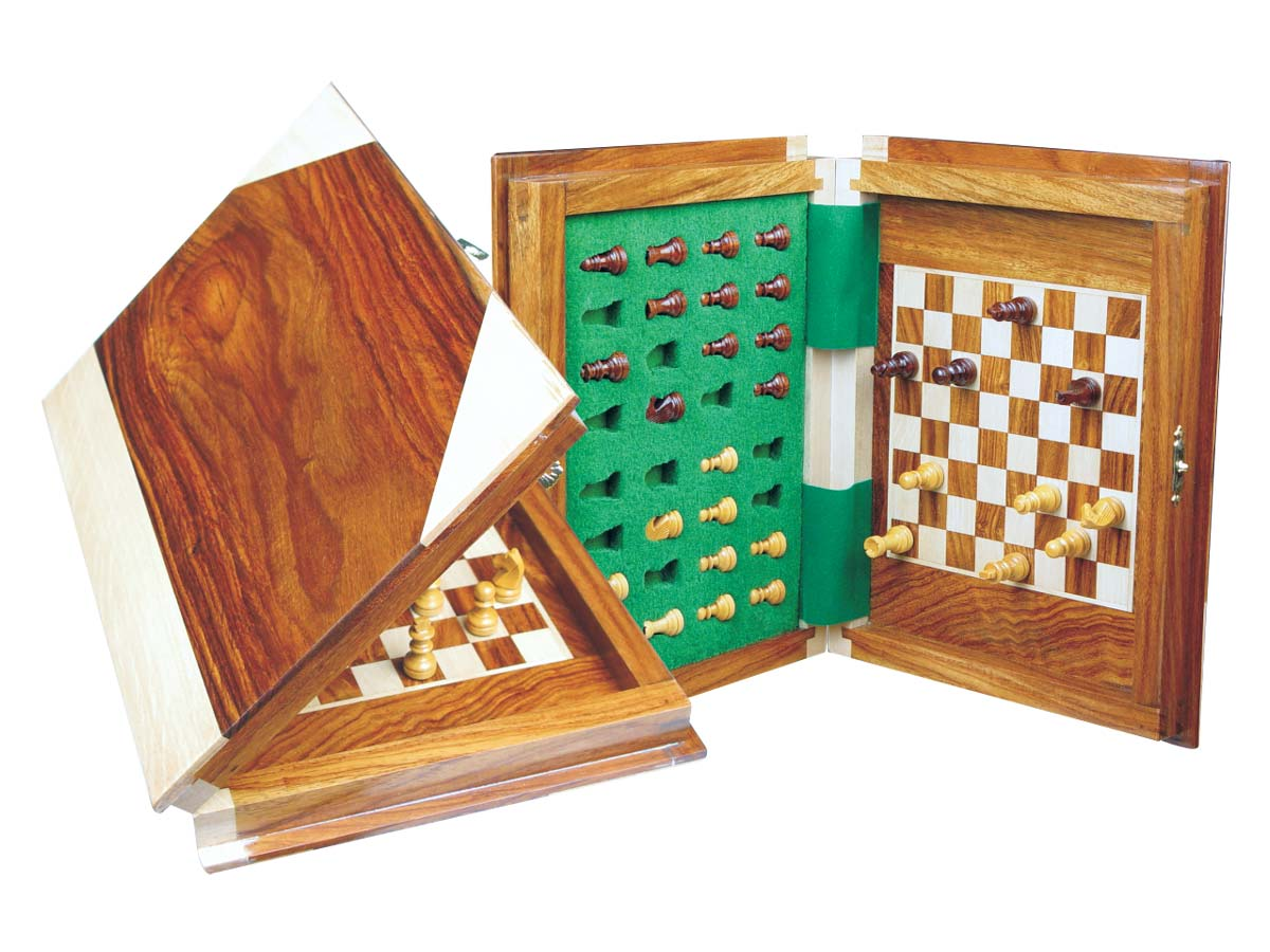 "Book Shape Travel Wood Magnetic Chess Set 9""x7"" Golden Rosewood/Maple"