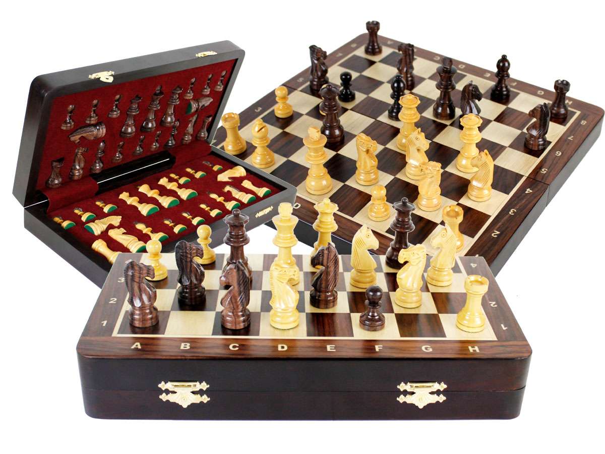 "Travel Chess Set Magnetic Folding 12"" with 2 Extra Queens, Pawns & 4 Extra Knights Rosewood/Maple and Inlaid Algebraic Notations"