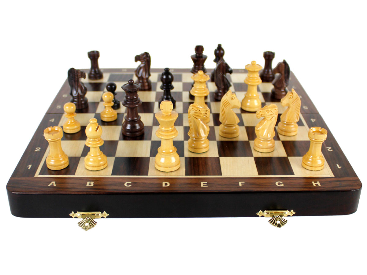 Inlaid Rosewood / Maple Chess Board with Notations - Full Layout
