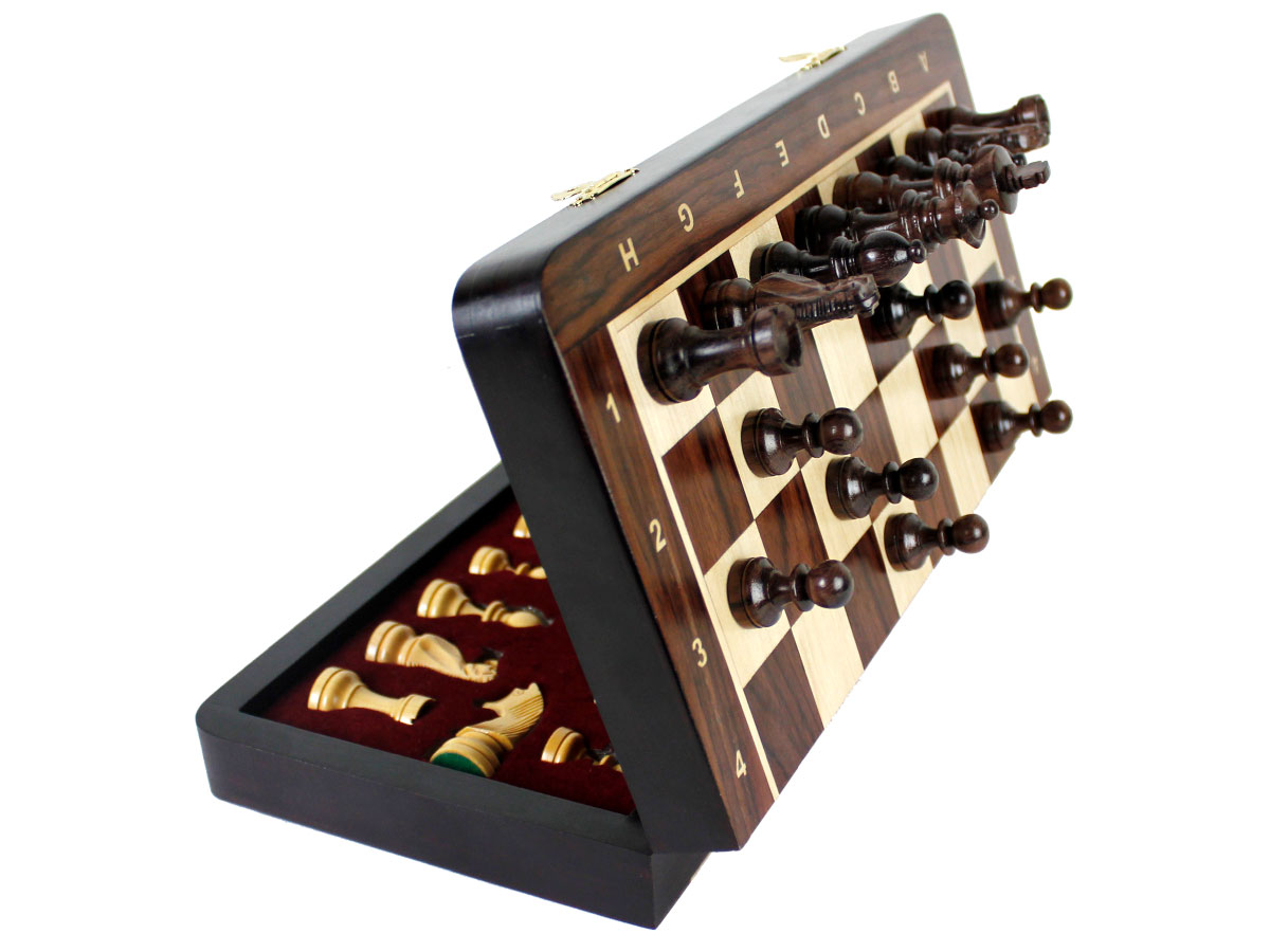Side view of Magnetic Chess Set with Pieces attached to board
