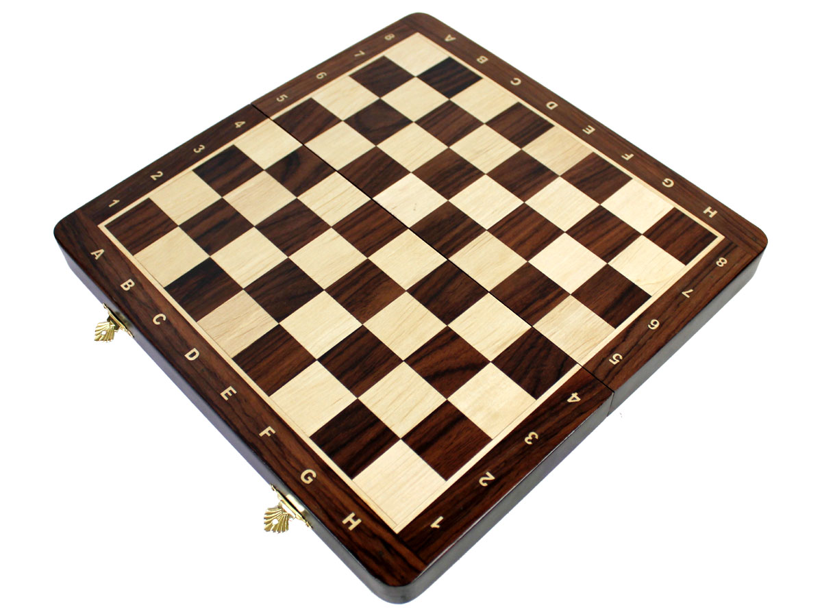 Fully open inlaid rosewood / maple chess board without pieces