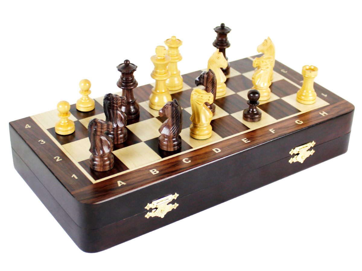 Folded side view of chess board with pieces