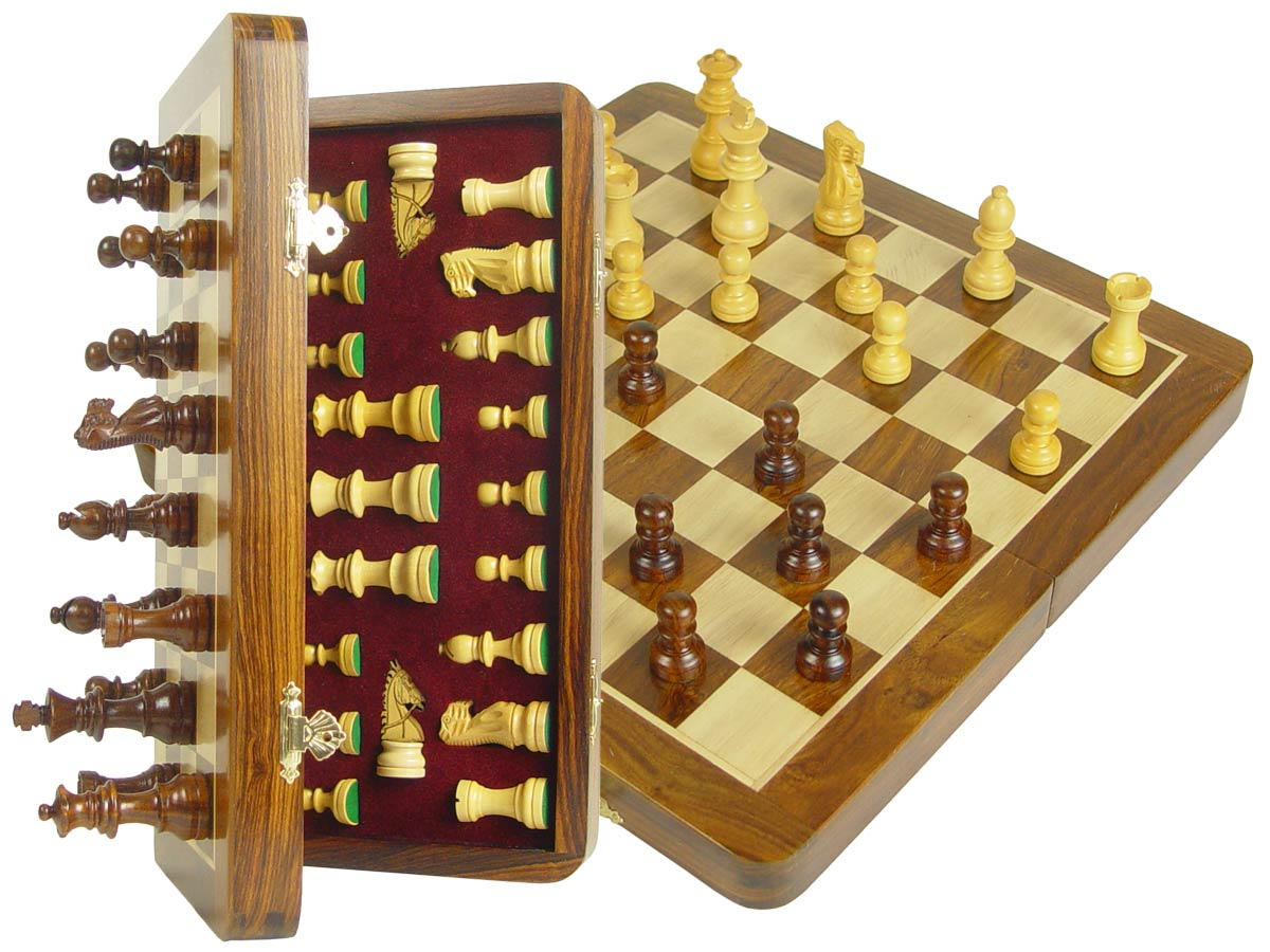 "Travel Chess Set Magnetic Folding 12"" with 2 Extra Queens, Pawns & 4 Extra Knights Golden Rosewood/Maple"