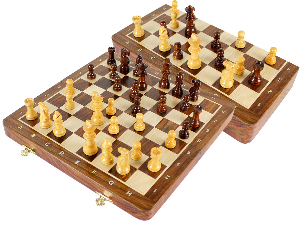 "Travel Chess Set Magnetic Folding 12"" with 2 Extra Queens, Pawns & 4 Extra Knights Golden Rosewood/Maple and Inlaid Algebraic Notations"