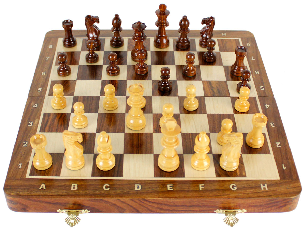 Inlaid Golden Rosewood / Maple Chess Board with Notations - Full Layout