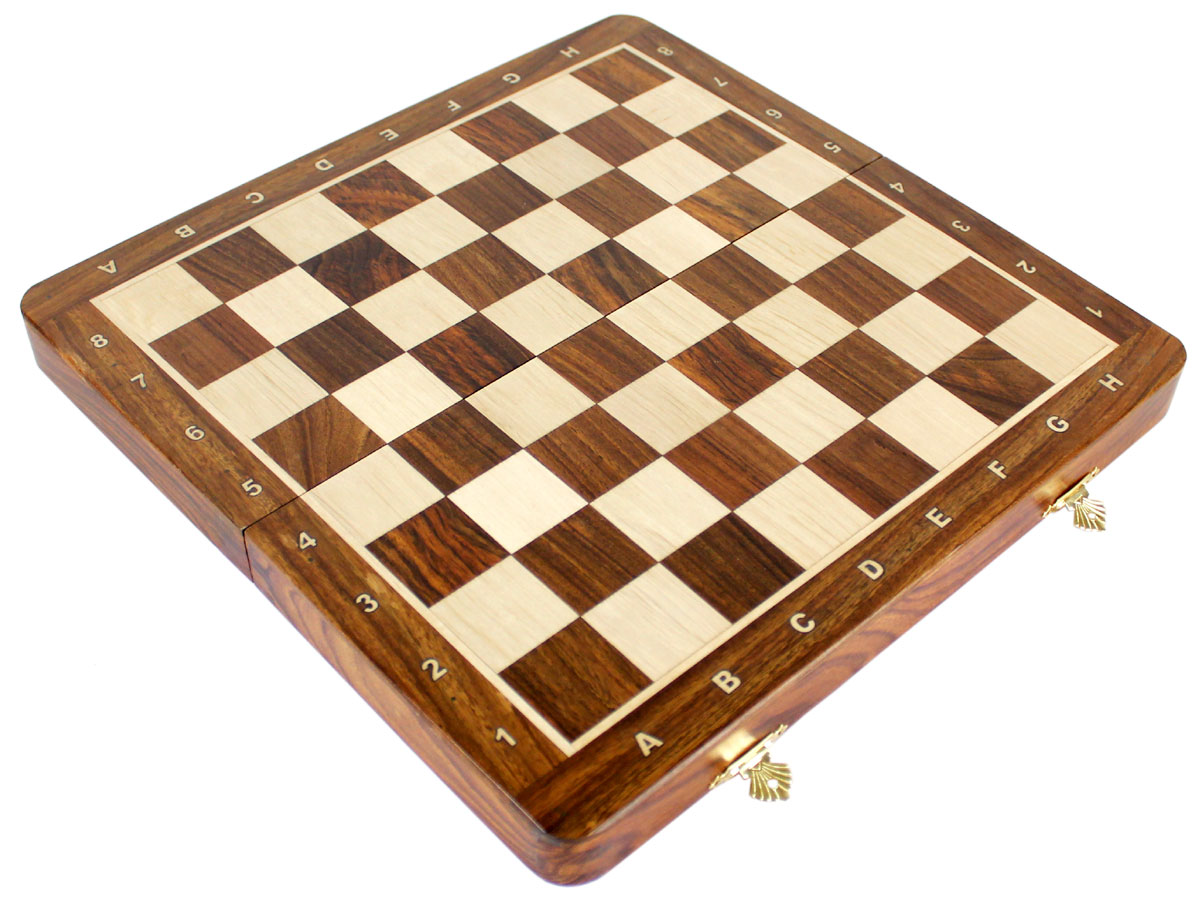 Fully open inlaid golden rosewood / maple chess board without pieces