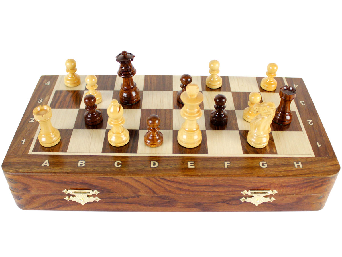 Folded front view of chess board with pieces