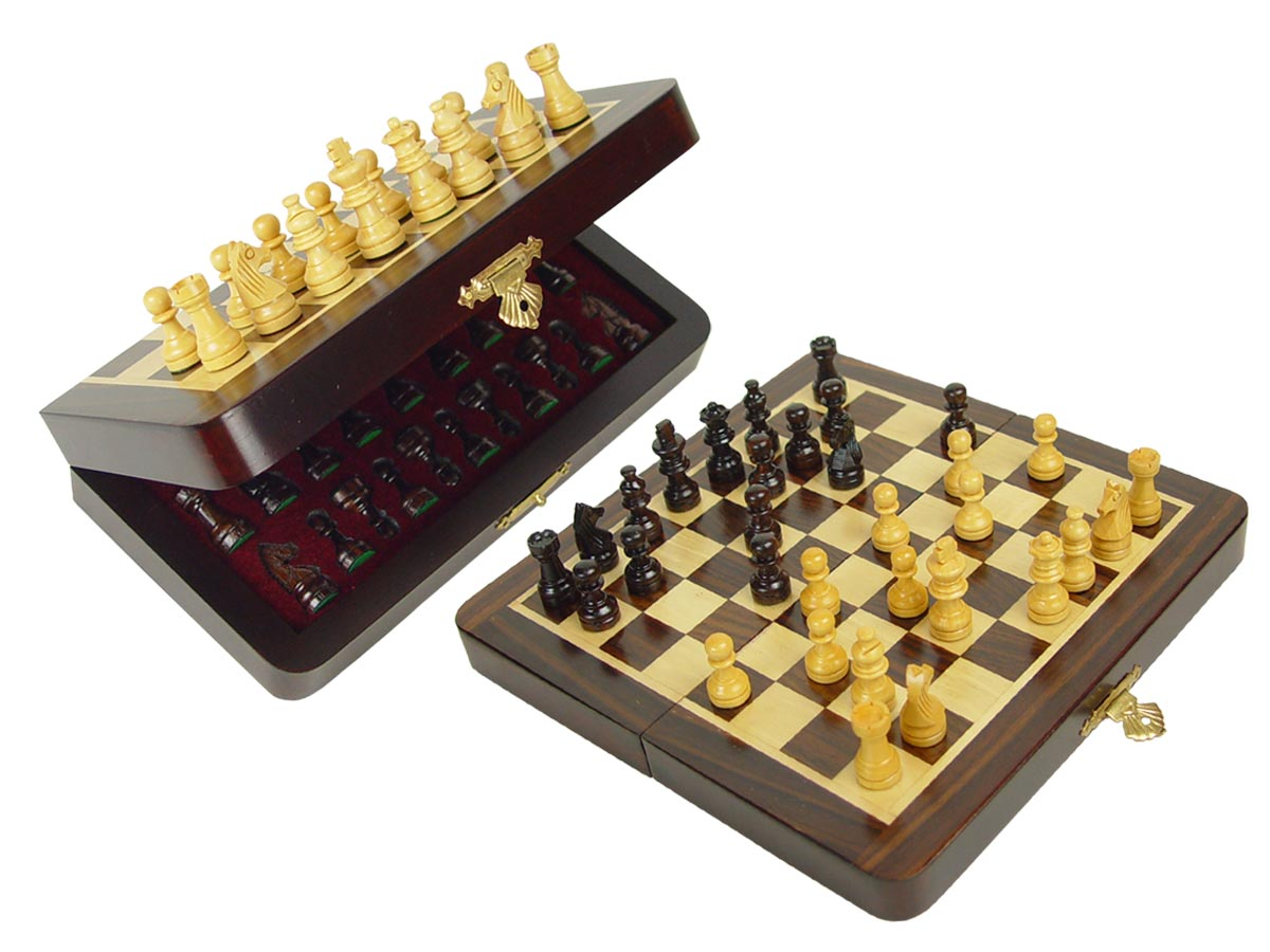 "Travel Chess Set Magnetic Folding 7-1/2"" with 2 Extra Queens, Pawns & 4 Extra Knights Rosewood/Maple"