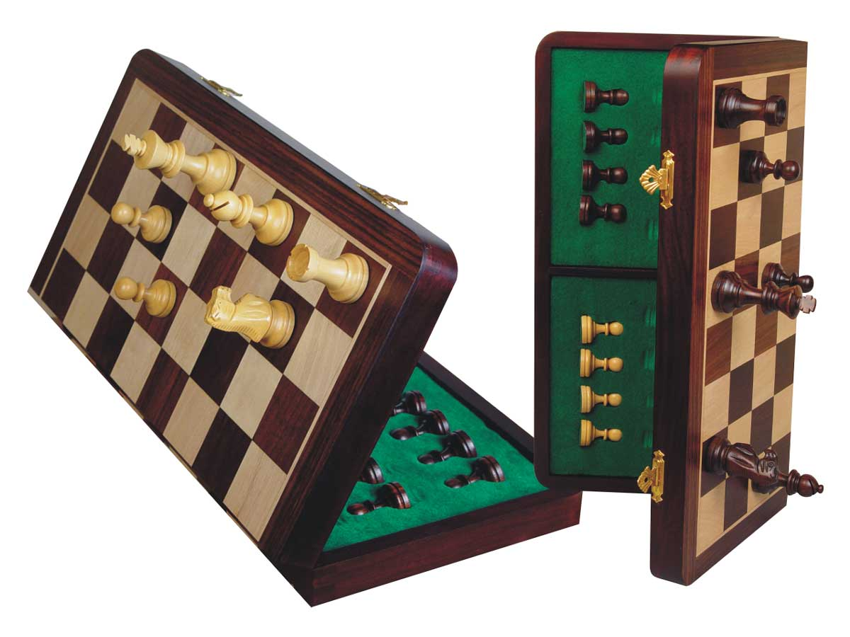 "Tournament Magnetic Chess Set Folding Chessboard 18"" Rosewood/Maple King Size 3-1/2"""
