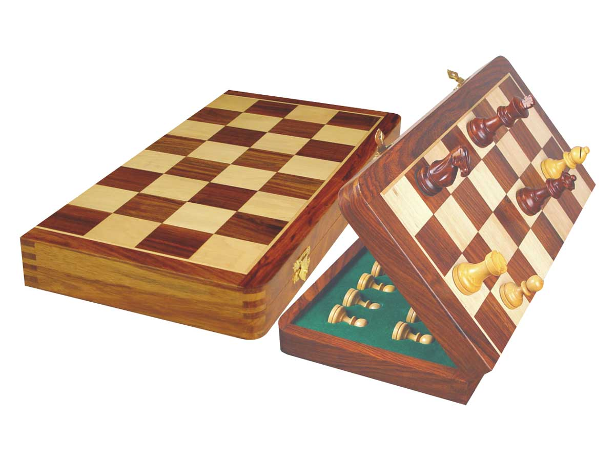 "Tournament Magnetic Chess Set Folding Chessboard 18"" Golden Rosewood/Maple King Size 3-1/2"""