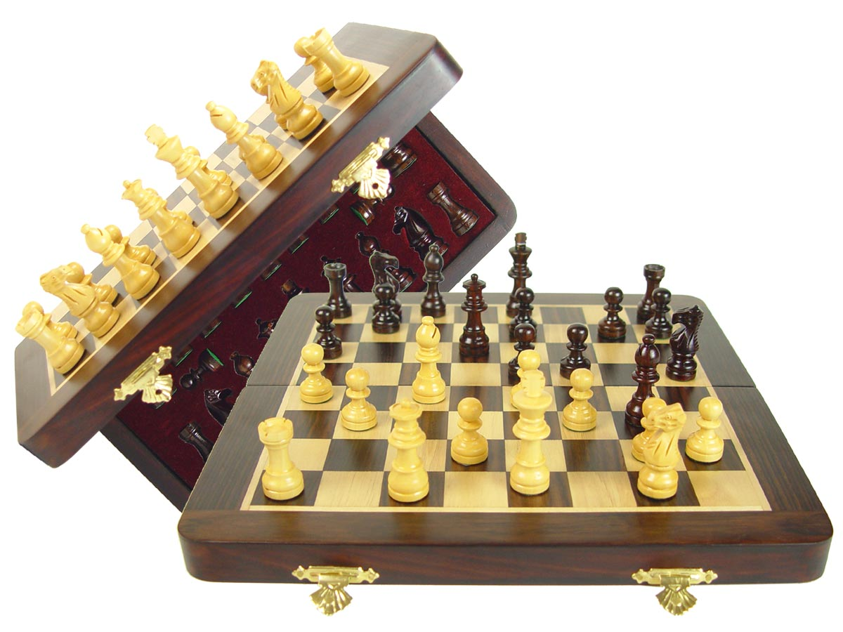 "Travel Magnetic Chess Set Folding 10"" with 2 Extra Queens, Pawns & 4 Extra Knights Rosewood/Maple"