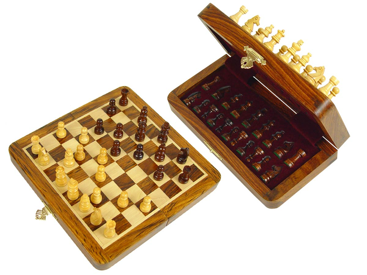 "Travel Chess Set Magnetic Folding 7-1/2"" with 2 Extra Queens, Pawns & 4 Extra Knights Golden Rosewood/Maple"